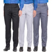 HAOSER Men's Black Grey White Grey Blue Colour Formal Trousers- Pack of 3