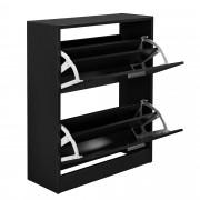 Шкаф за обувки [en.casa]®, за 12 чифта, 63 x 24 x 81cm, Черен
