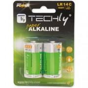 Techly Blister 2 Batterie High Power Mezza Torcia C Alcaline LR14 1,5V