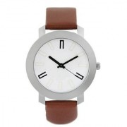 Globalurja Round Dial Brown Leather Strap Quartz Watch for Men
