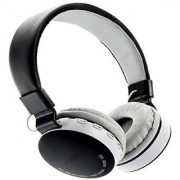 Royal Mobiles MS-881 C or A Full Dolby Sound Bluetooth headphone With FM and micro SD FOR LAPTOP PC MOBILE Bluetooth Headset with Mic (Black White Over the Ear)