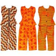 Wajbee Shapely Girls Cotton Night Suit Set of 3