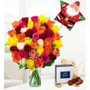 40 Roses Bear and Balloon - Free Chocs
