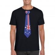 Shoppartners Zwart t-shirt met Australie vlag stropdas heren