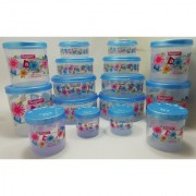 Airtight With Twister Plastic Container Set of 16 PCS (2500ml 2400ml 1800ml 1600ml 1000ml 800ml 500ml 400ml) Blue
