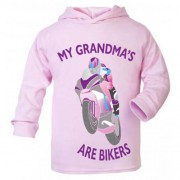J-My Grandma is a biker motorcycle toddler baby childrens kids pink hoodie 100% cotton
