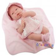 Élethű játékbaba rózsaszín ruhában-Berenguer