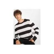 Urban Classics / trui Striped in zwart - Heren - Zwart - Grootte: 4X-Large