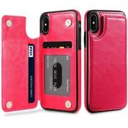 Floveme Para IPhone X Caballo Loco Textura Horizontal Flip Genuino Cuero Funda Protectora Con Ranuras Para Tarjetas Y Titular (rosa Roja)