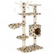 [en.casa] Rascador para gatos (65 x 35 x 130 cm aprox.)(crema con huellas) varios niveles / Sisal / con juegos, cueva y hamaca