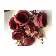 Flori Artificiale Buchet 6Trandafiri Cu 2Hortensii Si 3Fire Flori Grena