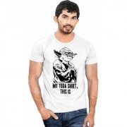 DOUBLE F ROUND NECK HALF SLEEVE WHITE COLOR MY YODA SHIRT THIS IS PRINTED T-SHIRTS