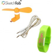 Sketchfab Combo of V8 OTG Fan Aux Cable With LED Watch Silicon - Assorted Color