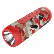 ZEALOT S22 Bluetooth Speaker FM Radio Portable Boombox Wireless Speaker with Flashlight and Power Bank - Camouflage Red