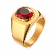 17.5MM Anillo De Rubí Rojo Ruby De Acero Inoxidable Europa Y América Joyería De Los Hombres --dorado