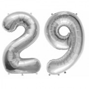 Stylewell Solid Silver Color 2 Digit Number (29) 3d Foil Balloon for Birthday Celebration Anniversary Parties