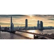 Werk aan de Muur Schilderij Rotterdam Skyline in the morning (Landscape) - Canvas - 100x45