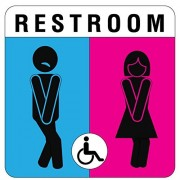 Pro Image Unique Unisex Bathroom Sign, Funny and Modern Restroom Signage for Office, Restaurant or any Store – 8†x 8†With disable icon.