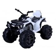 Mașinuță electrică pentru copii Quad Hero 12 V, Albă, roți ușoare EVA, Telecomandă 2.4 Ghz, scaun din piele, suspensii, baterie 12V7Ah