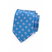 Modrá pánská kravata vzorovaná s květy Avantgard 559-1394