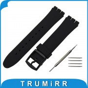 Rubber Silicone Watchband for Swatch Men Women Watch Band Wrist Strap Bracelet 17mm 19mm 20mm Black White