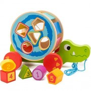 Cossy Wooden Shape Sorter Pull Toy - Alligator Puzzle For Toddler Learning Walk-A-Long Push & Educational Old