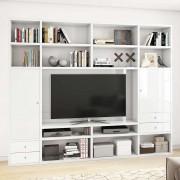 Hochglanz Regalwand für TV Weiß