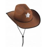 Sombrero marrón de sheriff para hombre Única