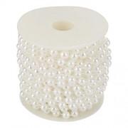 ZJchao 10 m / rollo de perlas de alambre de perlas de perlas cadena de molienda perlas de alambre de la perla guirnalda de la cadena de bricolaje decoración del banquete de boda o manualidades 8 mm(White)