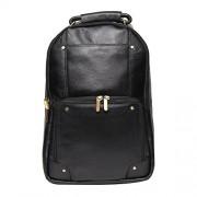 Comfort 18 inch Pure Black Leather Backpacks Bag for men and women EL83