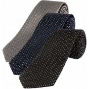 RE-FOX Dot Slim Formal Tie for Men - Polyester Necktie for Men - Formal Ties for Men (set of 3- Black Blue Grey