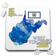 777images Flags and Maps - States - Flag and County map of West Virginia with State Name and Nickname - 10x10 inch Puzzle (pzl_219693_2)