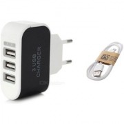 Combo (C6) of 3 USB Fast Charger and 1 Pc Data Cables (Assorted colors) by KSJ Accessories
