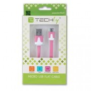 Techly Cavo Flat USB AM a Micro USB M Rosa 1m