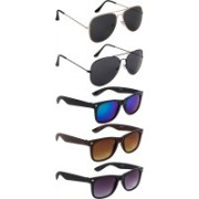 NuVew Aviator, Wayfarer Sunglasses(Black, Blue, Brown, Green, Violet)