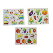 Hnt Kids Wooden pegged Transport Vegetable and Fruit Inset Puzzle