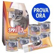 Smilla Kitten Starter Set - 1 kg secco + 6 x 200 g umido Vitello + 75 g snack