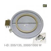 Kookplaat Element 210/135 mm Ø 2000/1000W 230V (twee-circuit HiLight verwarmingselement, controle door energieregelaar) fornuis 1051216412