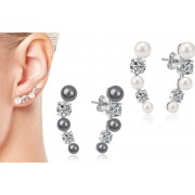 Silver Supermarket Ltd From £6.99 for a pair of pearl climber earrings in white, grey or black