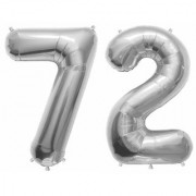 Stylewell Solid Silver Color 2 Digit Number (72) 3d Foil Balloon for Birthday Celebration Anniversary Parties