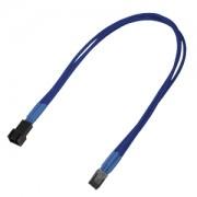 Cablu prelungitor Nanoxia 3-pini Molex, Single Sleeve, 30cm, blue/black