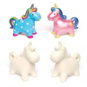 Baker Ross Unicorn Money Box - 2 Ceramic Unicorn Coin Banks to paint & decorate. Comes with a removable plastic stopper. Size 12cm x 11.5cm.