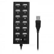 480Mbps USB 2.0 puertos 13 w / interruptor / puerto - negro de la energia