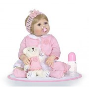 Pinky Cheap 22 inch 55cm Vinyl Silicone Reborn Baby Dolls Lovely Girl Lifelike Looking Newborn Doll Toddler Real Touch Child Birthday and Xmas Present