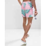 ASOS Swim Shorts With Floral Print In Mid Length - Pink