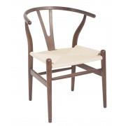 Replica Hans Wegner Wishbone Chair - Dark Walnut Frame (grain visible) Natural seat - Ash Timber