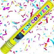 Tun de confetti 40 cm cu serpentine multicolore 1 buc