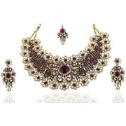 Mithya by JewelMaze Kundan Maroon Austrian Stone Gold Plated Zinc Alloy Necklace Set With Maang Tikka-DAA0043