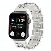 Apple Cowboy ketting met witte diamanten armbanden voor Apple Watch serie 4 & 3 & 2 & 1 42 mm & 44mm(Silver)