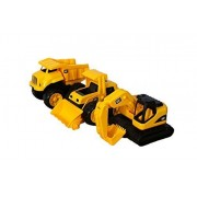 """CAT Tough Tracks Truck 8"""" 3 (Three) Piece Bundle Play Set with The Feel of a Real Dump Truck, Loader, & Excavator"""